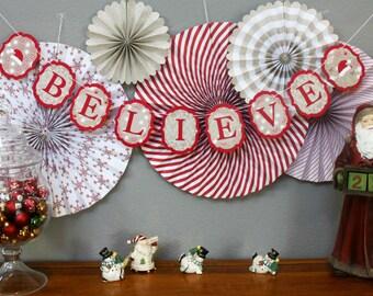 """Holiday """"Believe"""" Banner / Holiday Banner / Believe Banner / Holiday Decor / Christmas Banner"""