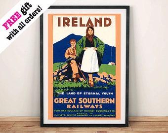 IRELAND RAILWAY POSTER: Vintage Irish Tourism Advert Reproduction Art Print