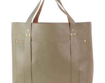 Retro Hirsch Hamburg Pola XL Weekender leather bag, light brown