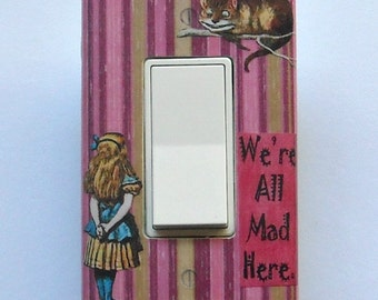 Alice Rocker & Outlet sets with MATCHING SCREWS- Cheshire Cat Alice in Wonderland wallpaper Alice art print Alice switch plate cover fixture