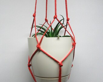 Very simple red plant hanger. Hanging planter. Macrame Plant Holder