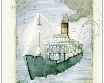 The sea original greeting card handmade 15cm x 15cm
