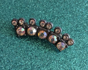 Vintage Aurora Borealis & Clear Rhinestone Pot Metal Brooch