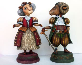 Sheeps. Wooden sculpture. 8 inches.