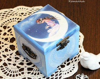 Moon fairy trinket box, wooden blue box, Decoupaged box, jewelry box, unique treasury box