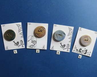 Ceramic Round Buttons - Handmade - Craftwork - Pottery