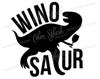 winosaur SVG, DXF, EPS, wine dinosaur clipart, mom drinking wine svg cuttables, clip art, Cricut, Silhouette, Cutting File