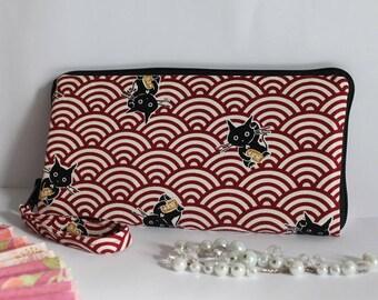 """8.3"""" long zippered wallet - White red - Maneki"""