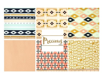 AZTEC Navy, Coral, Mint, Gold and White - Custom Crib Bedding - Choose your fabrics