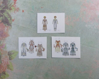Dollhouse Miniature Set of Victorian Ladies Paper Doll Sheets