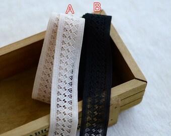 "40 meter 2.2cm 0.86"" wide black/pale pink mesh tapes lace trim ribbon F18E511L1221F free ship"