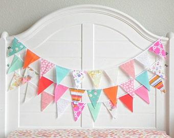 Fabric Bunting Banner, Valentine Decorations Garlands, Colorful Garland, Fruit Birthday, Rainbow Bunting, Coral and Mint Fabric Garland