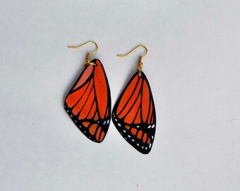 Handcrafted Butterfly Wing Earrings, Jewelry, 14k gold, Hypoallergenic or Sterling Silver, Painted front and back, Fish Hook Earrings