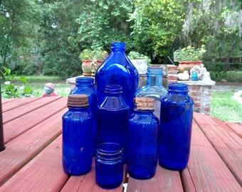 Antique Vintage Cobalt Blue Pharmacy/Drug Bottles Lot of Seven (7), Maryland Glass Company, Bromo Seltzer, Milk of Magnesia
