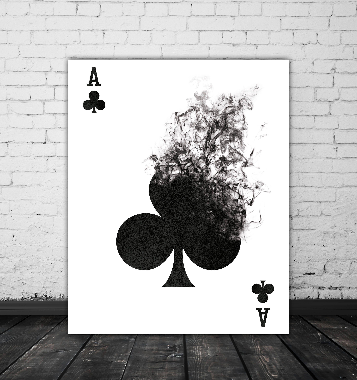 Jugando a las cartas pared arte negro y blanco Arte arte de