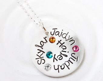 Grandmother's Necklace - Hand Stamped, Personalized Birthstone Multiple Name Spiral Necklace - Mother's Necklace - Gift for Her