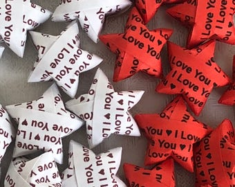 "100 Origami Lucky Stars - Red or White with ""I LOVE YOU"" print"