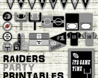 Raiders Football Party Printables and Decorations - Printable - 15 Pages in PDF Format - INSTaNT DOWNLoAD