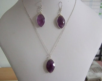 """Amethyst, February & Pisces Birthstone, Sterling Silver,approx 20x15mm, Bezel Pendant and Earring Set with 16"""" Sterling Silver Chain"""