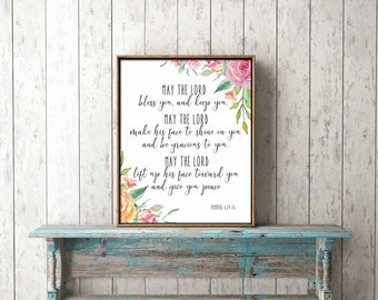Bible Verse Wall Art digital print download - May the Lord bless you and keep you, Numbers 6:24-26 - scripture, home decor, gift, printable