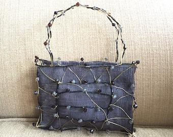 Contemporary slate grey black Beaded Wire Linen Handbag Artful Contemporary