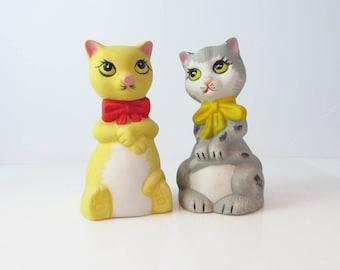 Bisque Cartoon Cat Bell Figurine Pair Set of 2 Taiwan - J.S.N.Y ?