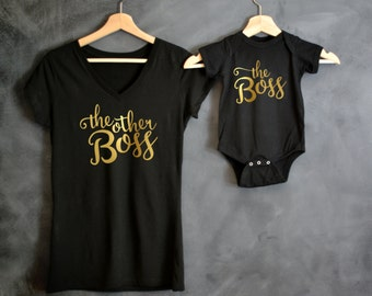 The Boss + The Other Boss Shirt Package, Mothers Day Gift, Mommy and Me shirts, Baby Shower Gift, Boss Lady, Boss Baby, Mini Boss, Mama Bear