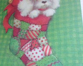 Christmas card puppy unused+env-American Greetings
