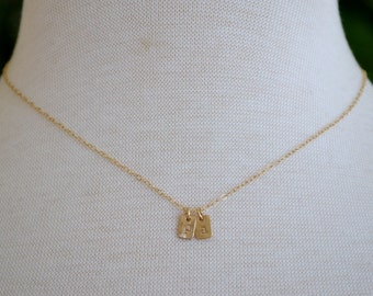 Simple Gold Monogram Necklace with 2 charms