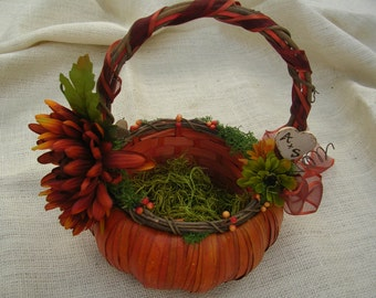 Flower a Girl Basket - Fall, Harvest Autum Wedding Theme Pumpkin Flower Girl Basket