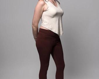 Capri Leggings - Yoga Leggings - Womens Leggings - Yoga Pants - Hemp Leggings - Fitness - Dance - Hemp, Organic Cotton - Natural Leggings