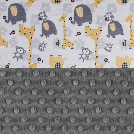 Newborn Baby Lovey / Personalized Baby Blanket Boy Girl - Yellow Minky Blanket / Gray Animal Blanket / Elephant Blanket / Name Baby Blanket