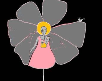 "Chalkboard square flower ""Petal"" pink orange, woman petal print on canvas"