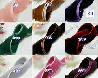 10 Yards Velvet Ribbon You Choose Color (3/4 inch) S3402