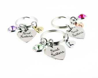 Soul Sisters Personalized Key Chain - Hand Stamped Charm Zipper Accessory - Soul Sister - Unique Gifts for Her - expressions bracelets