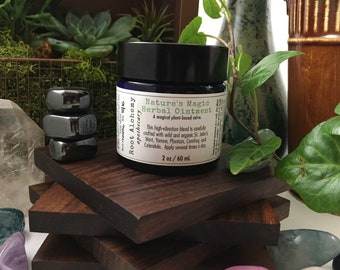 Nature's Magic Herbal Ointment; Herbal Salve; Natural First Aid Care for Cuts, Scrapes, Bug Bites, Bee Stings and Burns