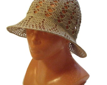 Crocheted sun hat, woman summer hat, Hat With Brim, vintage style hat, handmade summer hat, lace hat, Ladies Hat, linen hat, Gift for Her