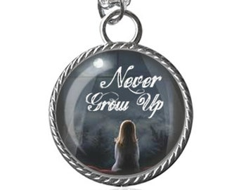 Never Grow Up Pendant Necklace, Inspirational Quote Necklace, Peter Pan Inspired Image Pendant Key Chain Handmade