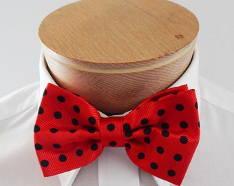 Mens Bowtie Red With Black Dots Banded PreTied Bow TIe Neck Tie