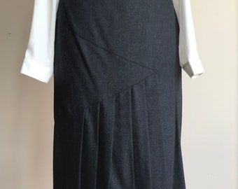 80s Wool Midi Skirt with Unique Front Cut and Pleats