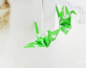 Earrings origami crane green stars, folded japanese paper