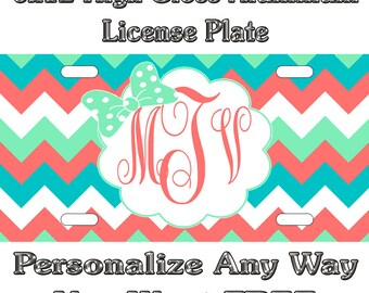 Chevron Teal Mint Coral Bow Sign Custom Monogram License Plate Auto Car Tag Personalize Background Wallpaper