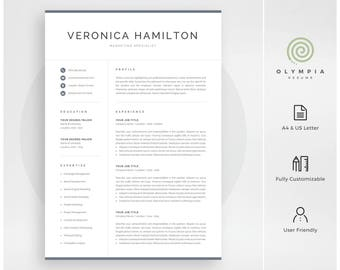 Professional Resume Template | Modern Resume Template For Word | Instant  Download | 1 And 2