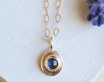 Sapphire Necklace, Gold Necklace, Gold Sapphire Necklace, Sapphire Pendant, Birthstone Jewelry, Gold Pendant, 9ct Gold, Gemstone Necklace
