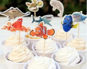 Disney Finding Dory Cupcake Double-Sided Toppers/Food Picks Party Decorating Favor Set of 24