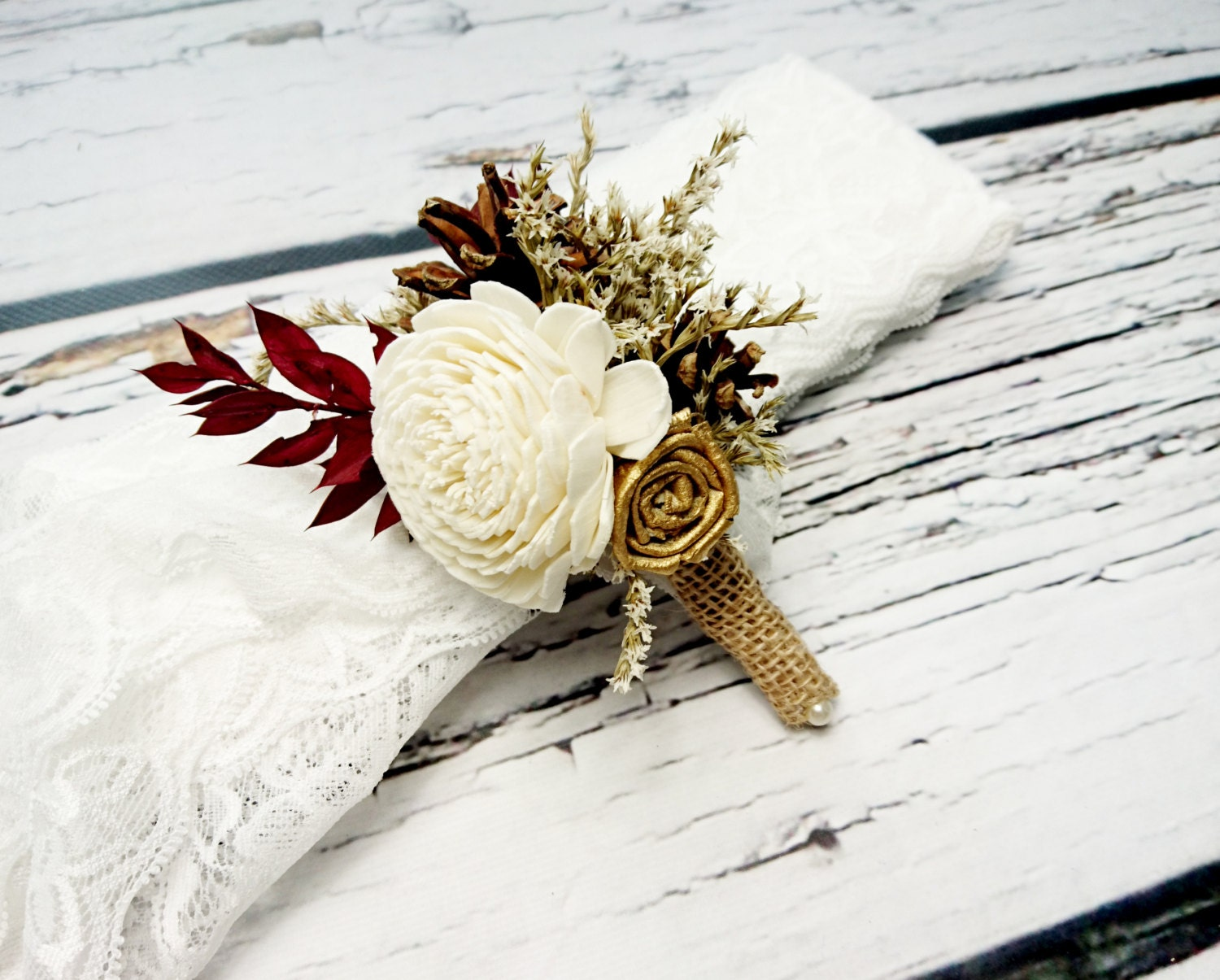 Ivory brown gold and burgundy rustic wedding boutonniere with pine ivory brown gold and burgundy rustic wedding boutonniere with pine cones junglespirit Images