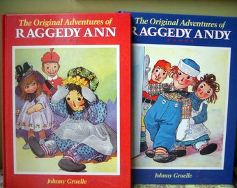 On Sale, The Original Adventures of Raggedy Ann Andy, Johnny Gruelle, Oversized Vintage Books, Hardcover, 1988, Set of Two, Derrydale