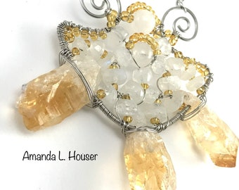 Goddess Citrine & Moonstone Wire Sculpted Necklace