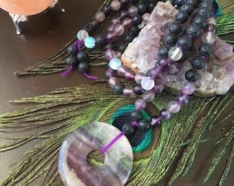 Fluorite Love Meditation Mala *108 beads *Knotted Mala