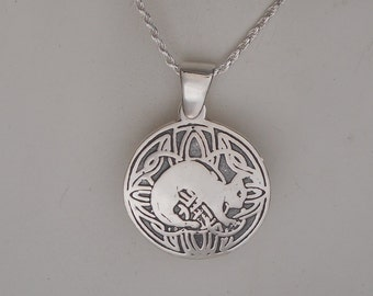 Sterling Silver Cat Necklace, Celtic Cat Pendant Made in Montana Fine Jewelry Gift for Cat Lovers Kitty Necklace Birthday Gift for Her